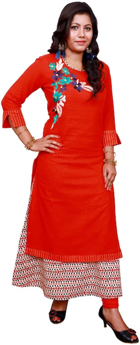 LILI Women Red Embroidered Angrakha Kurti