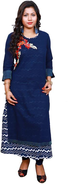 LILI Women Blue Embroidered Angrakha Kurti