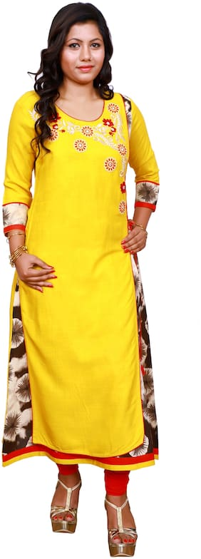 LILI Women Yellow Embroidered Angrakha Kurti