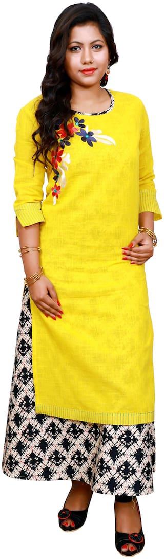 LILI Women Yellow Embroidered Angrakha Kurti