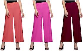 Lili Women Malia Lycra Wide Leg Palazzo Pants Pack of 3 (Free Size)