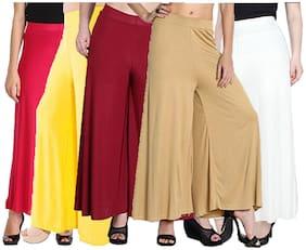 Lili Women Malia Lycra Wide Leg Palazzo Pants Pack of 5 (Free Size)