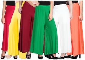 Lili Women Malia Lycra Wide Leg Palazzo Pants Pack of 6 (Free Size)