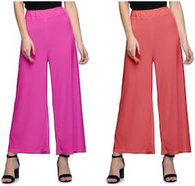 Lili Women Malia Lycra Wide Leg Palazzo Pants Pack of 2 (Free Size)