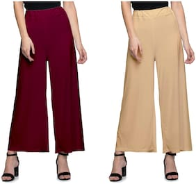 Lili Women Malia Lycra Wide Leg Palazzo Pants Pack of 2 (Free Size)