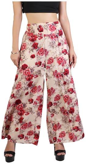 Lili Women's Wide Leg High Elastic Waist Floral Print Crepe Palazzo Pants Regular Plus Size