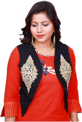 Lili Women Sleeveless Embroidery Work Shrug