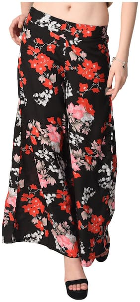 Lili Women Wide Leg High Elastic Waist Floral Print Crepe Palazzo Regular and Plus Size