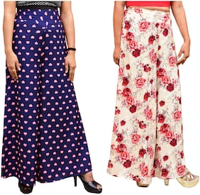 Lili Women Wide Leg High Elastic Waist Floral Print Crepe Palazzo Pants Pack Of 2