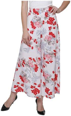 Lili Women Wide Leg High Elastic Waist Floral Print Crepe Palazzo Regular and Plus Size