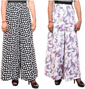 Lili Women Wide Leg High Elastic Waist Floral Print Crepe Palazzo Pants Pack Of 2