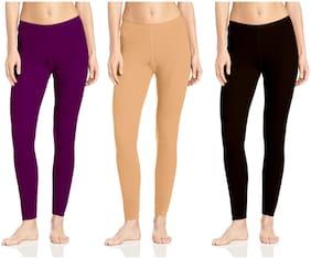 Lili Woolen Blend Winter Warmer Ankle Length Leggings Combo Pack of 3