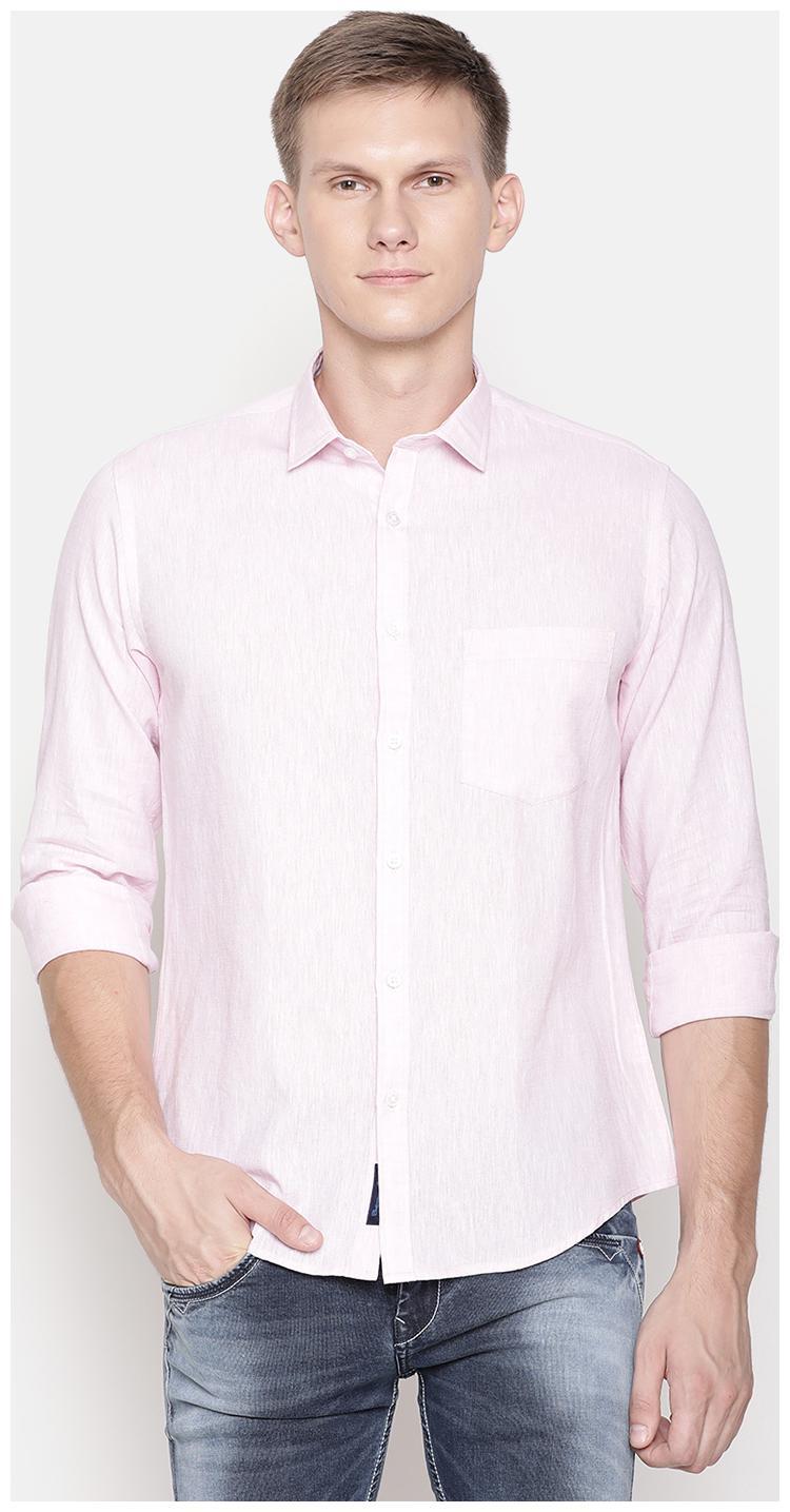 Linen Club Men Pink Solid Regular Fit Casual Shirt