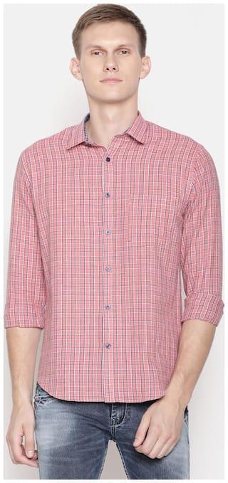 Linen Club Men Regular Fit Casual shirt - Red