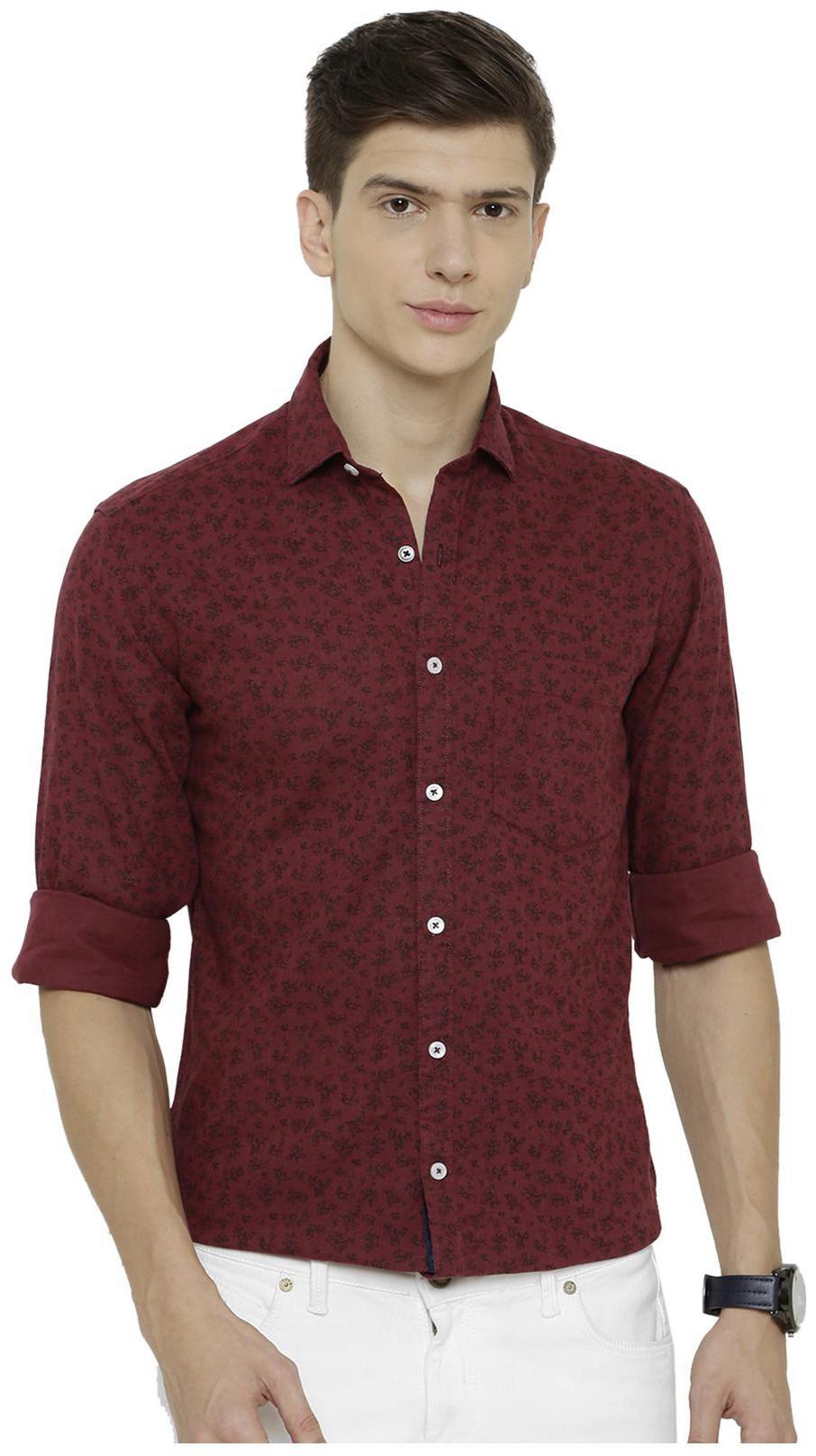 Linen Club Men Maroon Floral Regular Fit Casual Shirt