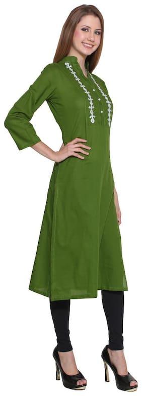 Lingra Women Green Embroidered A-Line Kurta
