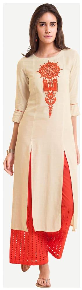 NAARI Women Viscose Embroidered Straight Kurti - White