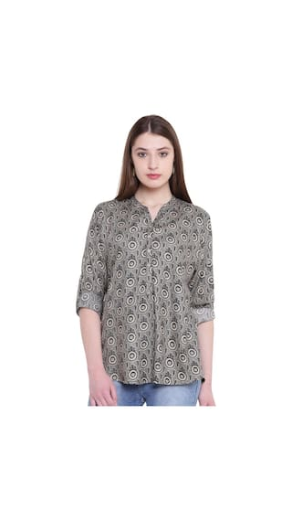 Lionize Women's Rayon Printed Shirt-Style Kurti Top for Casual Wear (Multi-Colored)