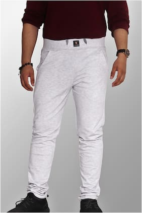 LIONMAN Men's Urban Wear Chino/Trouser Fit Track Pant - Milky Grey