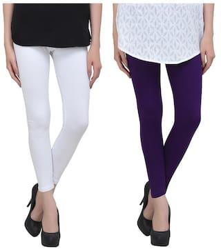 0376ca4d02f65 Livener Premium Cotton Ankle Leggings for Women (Combo of White   Purple  Color)