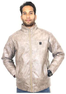 LIVSTER Men Beige Solid Leather jacket - Beige