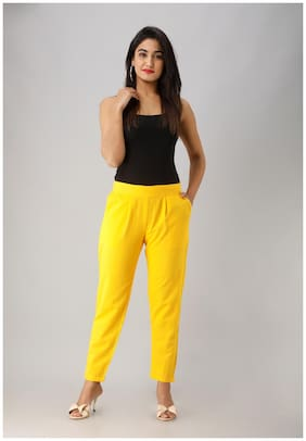 Liyara Blended Solid Yellow Trouser Pant For Women