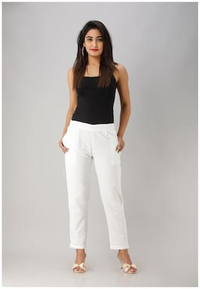 Liyara Blended Solid White Trouser Pant For Women