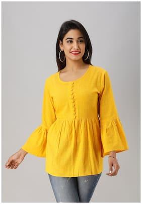 LIYARA Women Solid Regular tunic - Yellow