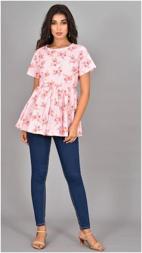 LIYARA Women Floral Regular tunic - Pink