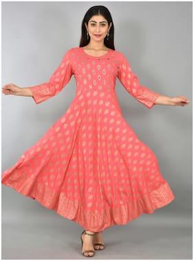 LIYARA Women Pink Printed Anarkali Kurta
