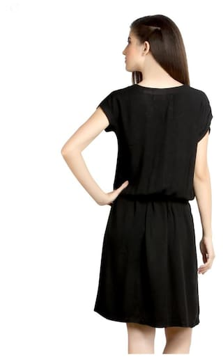 Womens Dress Loco Viscose En CZWD0080 Cabeza Rayon Black YZwEZrO