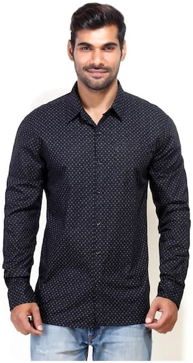 London Bee Black Cotton Casual Shirt