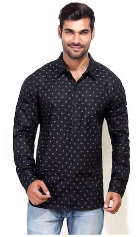 London Bee Mens Black Cotton Casual Shirt MLSLB0006