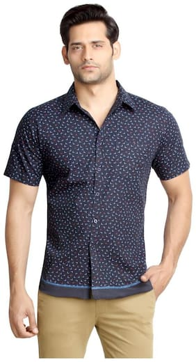 London Bee Men's Cotton L Print Short Sleeve Slim Fit Shirt MSSLB0066