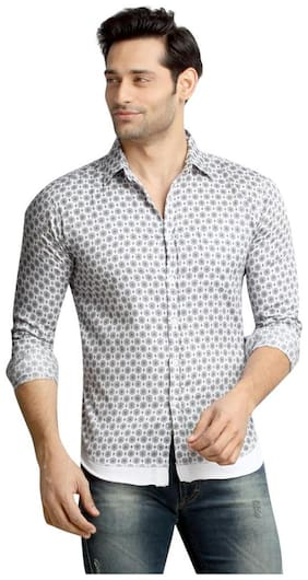 London Bee Men's Printed Long Sleeve Slim Fit Shirt MLSLB0101