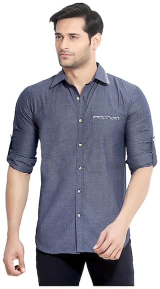 London Bee Men Slim Fit Casual shirt - Blue