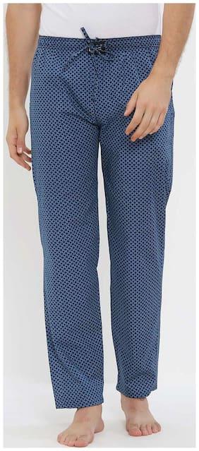 London Bee Men Cotton Printed Pyjama - Blue