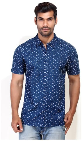 London Bee Navy Cotton Casual Shirt