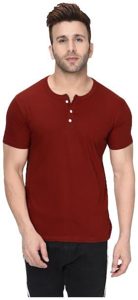 London Hills Men Maroon Regular fit Cotton Henley neck T-Shirt - Pack Of 1