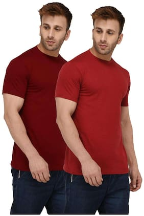 London Hills Solid Men Half Sleeve Round Neck Rust Red And Maroon T-Shirt (Pack of 2)
