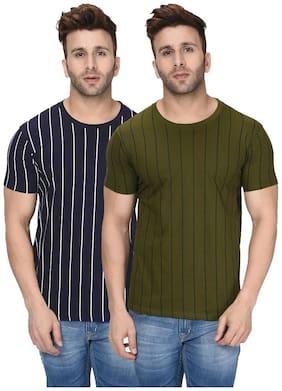London Hills Men Blue & Green Regular fit Cotton Round neck T-Shirt - Pack Of 2