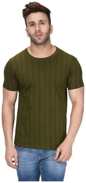 London Hills Men Green Regular fit Cotton Round neck T-Shirt - Pack Of 1