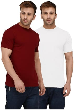 London Hills Solid Men Half Sleeve Round Neck Rust Red And White T-Shirt