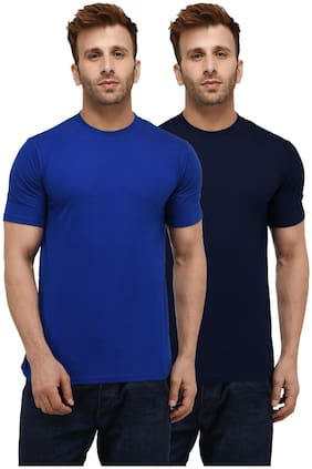 London Hills Solid Men Half Sleeve Round Neck Royal Blue And Navy Blue T-Shirt