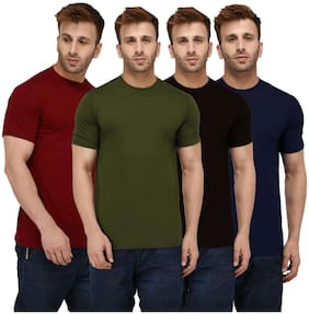 London Hills Men Regular fit Round neck Solid T-Shirt - Multi