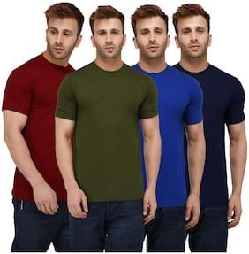 London Hills Solid Men Half Sleeve Round Neck Rust Red;Olive Green;Blue;Blue T-Shirt