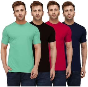 London Hills Men Multi Regular fit Cotton Round neck T-Shirt - Pack Of 4