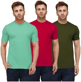 London Hills Solid Men Half Sleeve Round Neck Sea Green;Red;Olive Green T-shirt