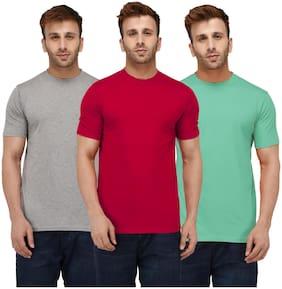 London Hills Solid Men Half Sleeve Round Neck Sea Green;Red;Grey T-shirt