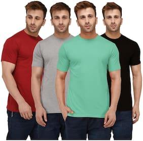 London Hills Solid Men Half Sleeve Round Neck Sea Green;Black;Grey;Maroon T-Shirts Combo